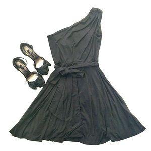 Black One Shoulder Fit & Flare A-line Party Dress